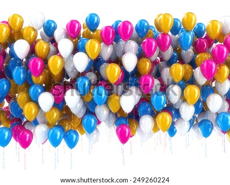 Multi color balloons isolated on white  - stock photo