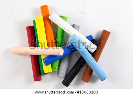 multi color chalk Oil pastel on white background - stock photo