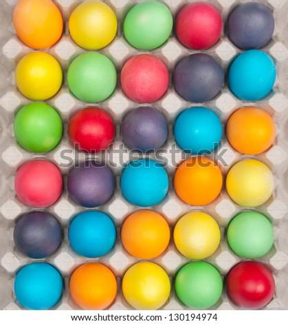 multi color eggs in box - stock photo