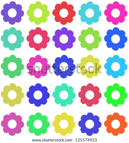 multi color flowers on white background