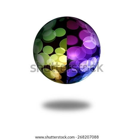 Multi color globe with shadow on white background - stock photo