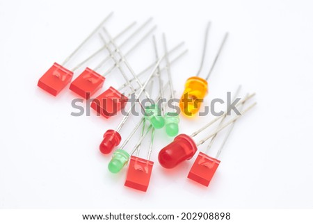 Multi Color LED, electronic part. - stock photo