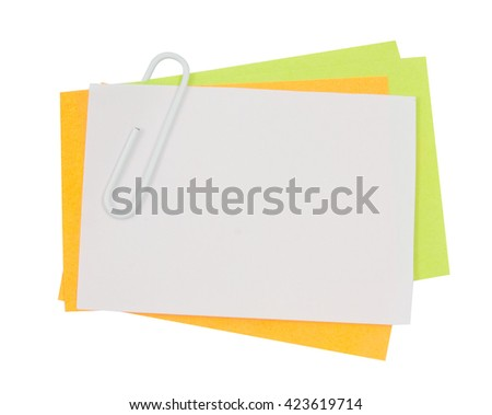 Multi color note with pink paper clip isolated clipping path - stock photo
