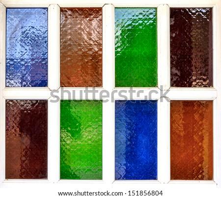 multi color of glass window - stock photo