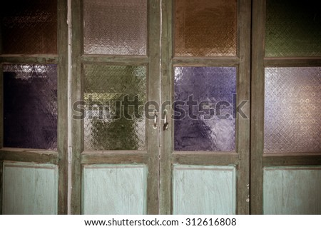 Multi color of glass window or glass background.vintage style. - stock photo