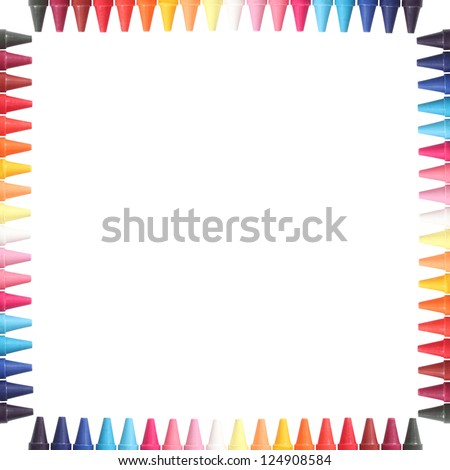 Multi color pastel(crayon) pencils border isolated on white with clipping path and copy space for text in the center - stock photo