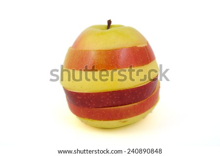 Multi colored apple on white background