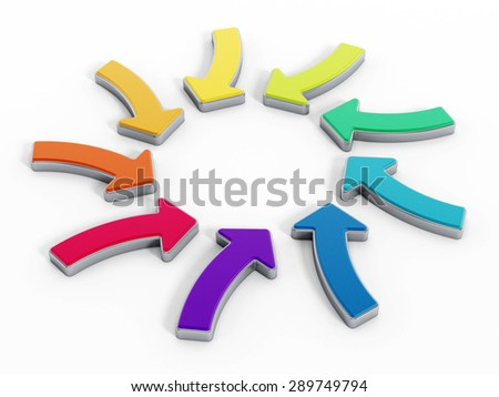 Multi colored arrow signs forming a circle shape isolated on white background.