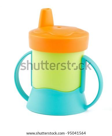 Multi Colored Baby Bottle isolated on white background - stock photo