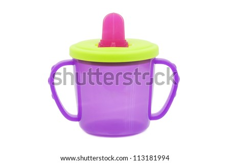 Multi coloredbaby cup- bottle - stock photo