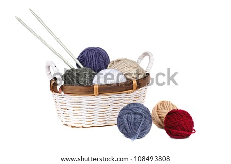 multi-colored balls of yarn in the basket - stock photo
