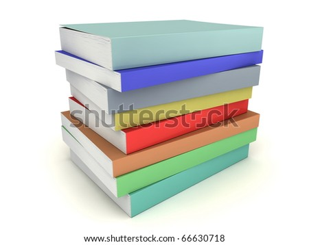 Multi-colored books stack without title and image on a white background