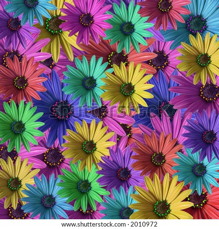 multi colored daisy flowers pattern background