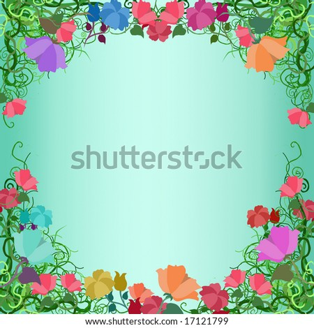 Multi-colored flowers make a frame. - stock photo