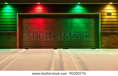Multicolored Garage Door Snowy Driveway Red Stock Photo 90200776 Shutterstock