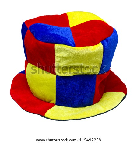 multi-colored jester hat isolated on white background - stock photo