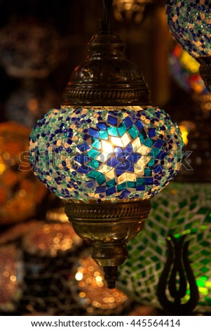 Multi-colored lamp hanging at the Grand Bazaar in Istanbul. - stock photo