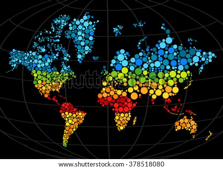Multi colored mosaic world map painted with color circle.Abstract polygonal geometric design map. raster illustration. Gradients free. - stock photo