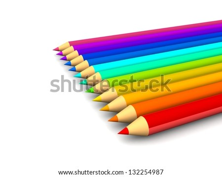 multi colored pencils isolated on white background. creative  pencils, design concept. back to school.  with space for your text