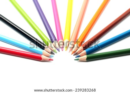 multi colored pencils isolated on white background. creative pencils, design concept. back to school. with space for your text - stock photo