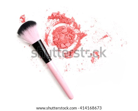 Multi Colored Powder Eyeshadow on a Brush, beauty tool blusher