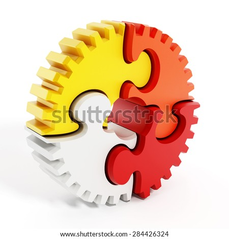 Multi-colored puzzle parts forming a gear