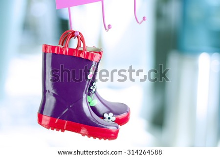 multi-colored  rubber boots for kids - stock photo