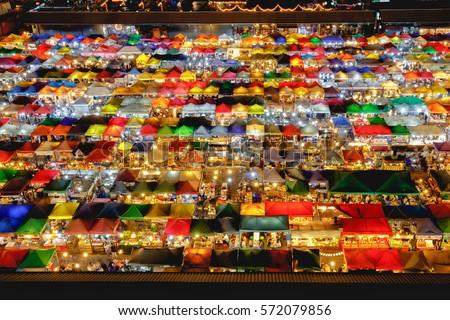 Multi-colored tents /Sales of second-hand Train Night Market Ratchada & Multicolored Tents Sales Secondhand Train Night Stock Photo ...