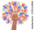 Multi colored tree made of children's hands isolated on a white background - stock photo
