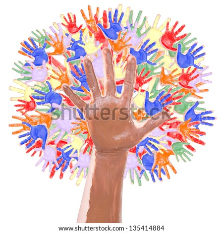Multi colored tree made of children's hands isolated on a white background