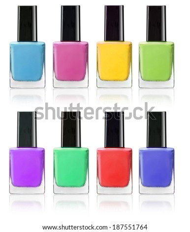 multi colors of nail polish catalog isolated on white