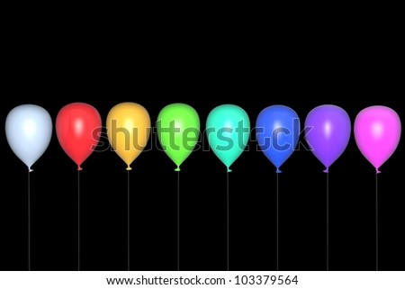 Multi-coloured balloons on a black background