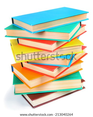 Multi-coloured books. On a white background. - stock photo
