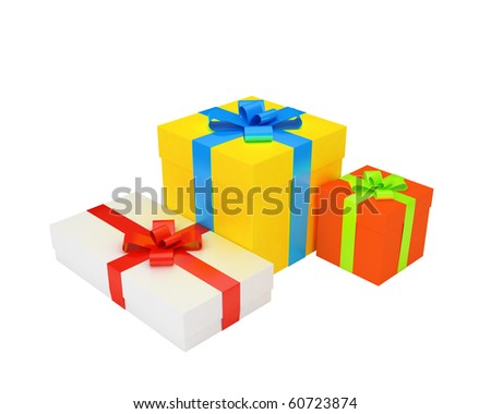 multi-coloured gift boxes - stock photo