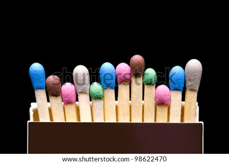 Multi-coloured matches in a box (a black background). - stock photo
