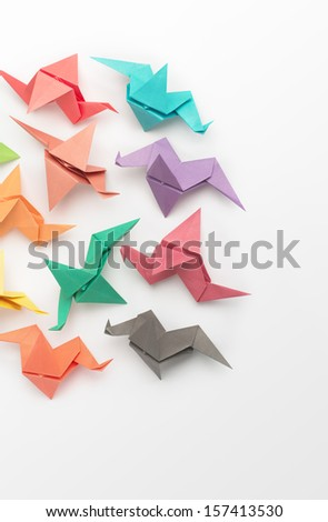 Multi-coloured Origami Birds - stock photo