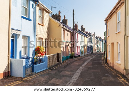 Multi-Coloured, Terraced Houses on a Street in Appledore, North Devon, UK
