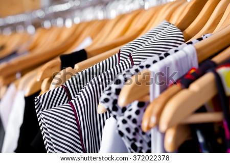 Multi-coloured wardrobe showcase - stock photo