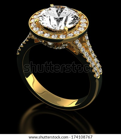 Multi diamonds ring on black
