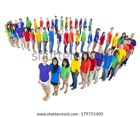 Multi-ethnic and Diverse Colorful People Standing in Line