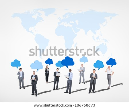 Multi-Ethnic Business People Cloud Computing and World Above