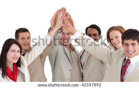 Multi-ethnic business people showing positivity against a white background - stock photo