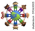 multi-ethnic cartoon kids holding hands around a globe -  3d rendering/illustration - stock vector