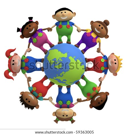 multi-ethnic cartoon kids holding hands around a globe -  3d rendering/illustration - stock photo