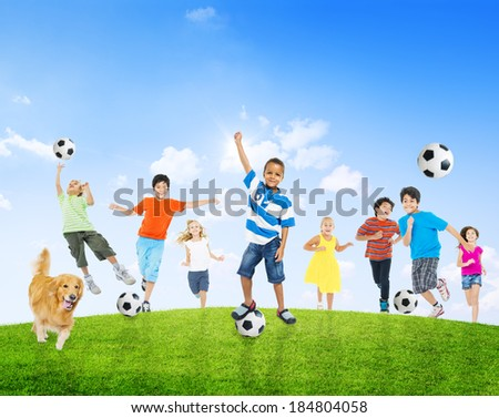 Multi-Ethnic Children Playing Ball With Golden Retriever - stock photo