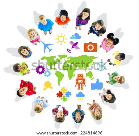 Multi-Ethnic Children with World Concepts - stock photo