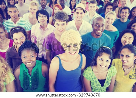 Multi-Ethnic Crowd Teamwork Friendship Concept - stock photo