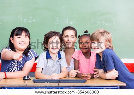 Multi ethnic elementary classroom with teacher.