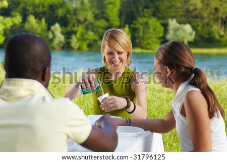 multi ethnic group having picnic outdoors and laughing - stock photo