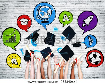 Multi-Ethnic Group of Arms Raised and Graduation Concepts - stock photo